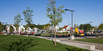 A view across the park towards typical Riversdale area homes