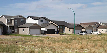 Typical homes found in the Rosewood area of Saskatoon