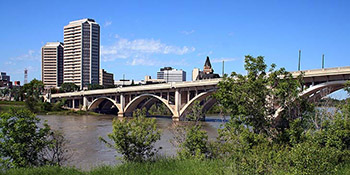 A view across the Broadway Bridge in Saskatoon towards the Radisson and Bessborough Hotels