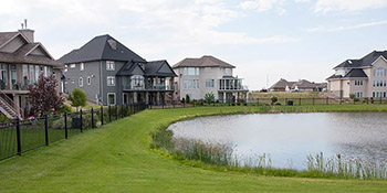Typical homes found in the Willows Golf Community area of Saskatoon